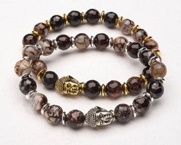 BUDDHA POWER BRACELET - BROWN AGATE