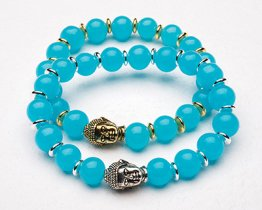 BUDDHA POWER BRACELET - LIGHT BLUE JADE
