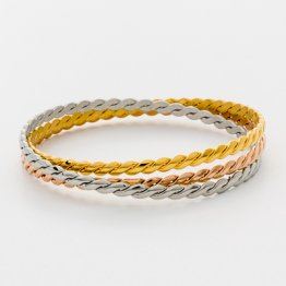 Tri-Color Bangle Set   ---   Braided  TR-01