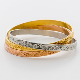 Tri-Color Bangle Set - Wide Etched  TR-02