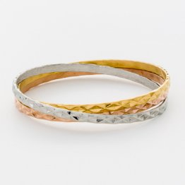 Tri-Color Bangle Set - Diamond Cut  TR-04