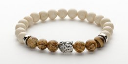 8MM FOSSIL STONE - PICTURE JAPSER BUDDHA MEN'S