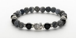 8MM BLACK FROSTED AGATE BUDDHA MEN'S