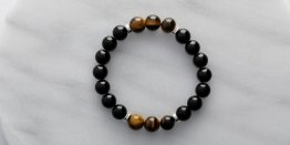 10MM BLACK AGATE W/ TIGER EYE