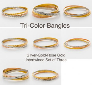 Tri-Color Bangle Set - Pre-Pack of 24 pcs.   TR-24